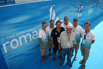 Bill with Australian team staff at the 2009 Rome World Championships