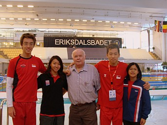 Bill with Singapore Team at FINA 2010 World Cup, Stockholm, Sweden