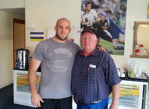 Bill with Stephen Moore of the Brumbies